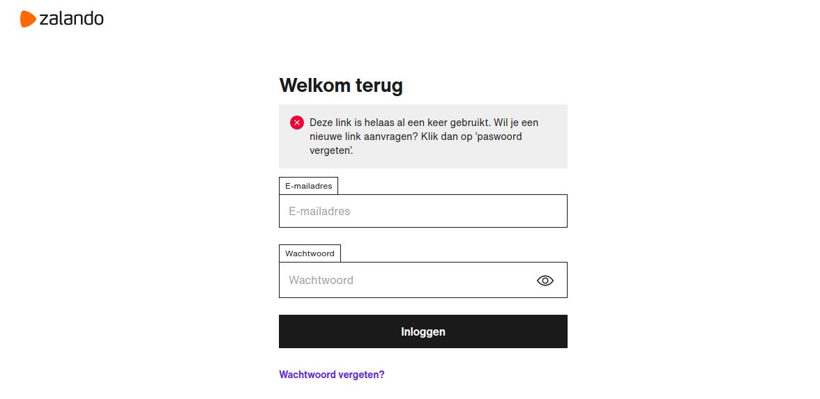 zalando wachtwoord herstel